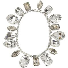 Tom Binns Regal Gems rhodium-plated Swarovski crystal necklace ($1,650) ❤ liked on Polyvore featuring jewelry, necklaces, accessories, jewels, bracelets, silver, clear necklace, gemstone necklaces, jewel necklace and swarovski crystal jewellery