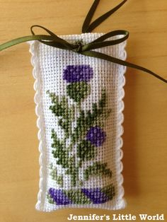 cross stitch lavender bag