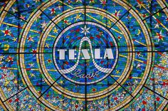 Tesla blue. My favourite piece of stained glass in Prague.
