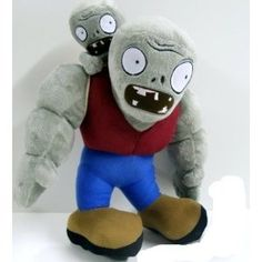 "Huge Over-sized Gargantuar Plush Zombie 13"" Tall With An Adorable Imp Zombie On His Back"