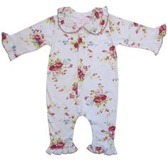 This gorgeous floral jumpsuit is the perfect gift for a baby girl.  http://www.lovefromrosie.co.uk/Powell-Craft-White-Floral-Jumpsuit-p/fljump.htm
