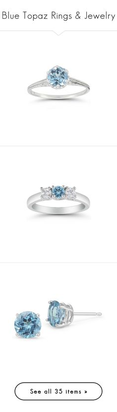 """""""Blue Topaz Rings & Jewelry"""" by applesofgoldjewelry ❤ liked on Polyvore featuring jewelry, rings, white gold jewellery, 14 karat ring, vintage jewellery, vintage blue topaz ring, 14k white gold jewelry, three stone white gold ring, three stone diamond ring and three stone ring"""