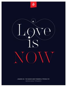 Love is NOW. Made with Lingerie XO - The Sexiest, Most Powerful Typeface Yet. Designed by Moshik Nadav Typography. Available on ww.moshik.net #lingeriexo #xo #typography #type #newfont #newtypeface #fonts #font #typeface #fashion #fashiontypography #fashionmagazine #logo #logotype #moshik #moshiknadav #ligatures #ligature #typografie #swashes #graphicdesign #branding #packaging
