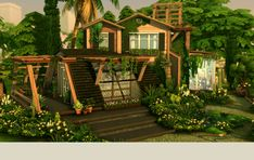 Eco Sanctuary Sustainable, lush, earth-toned Eco Sanctuary: a perfect home for the truly eco-conscious sim. Sims Building, Building A House, Lotes The Sims 4, Sims Cc, Nature Architecture, Sims 4 House Design, Sims House Plans, Casas The Sims 4, Sims 4 Build