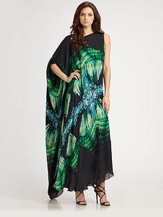 Roberto Cavalli - Silk Gown with long caftan sleeve & asymmetrical neckline
