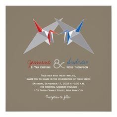 Red & Blue Paper Cranes Origami Oriental Chic Wedding Invitation by fatfatin