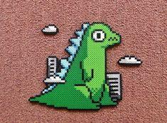 Long Black Fingers : Little Godzilla Perler Bead Melty Bead Patterns, Pearler Bead Patterns, Perler Patterns, Beading Patterns, Perler Bead Templates, Diy Perler Beads, Perler Bead Art, Hama Beads Minecraft, Pixel Beads