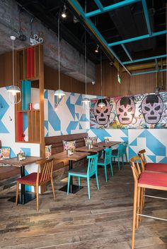 © Seth Powers | Reclaimed wood, restaurant floow | El Luchador, designed by Hannah Churchill