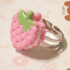 Kawaii Rings | Kawaii Pink Strawberry Ring by *hellohappycrafts on deviantART