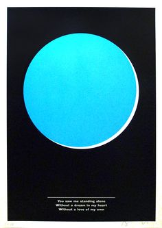 Anthony Burrill Blue Jasmine Sceenprint - The slight space between the circle and the black background makes it appear trapped. The bright colour also makes it the subject of the piece.