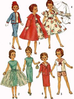 Vintage Doll Clothes Pattern 3252 for 18 in Toni Revlon Dollikin Sweet Sue Ideal