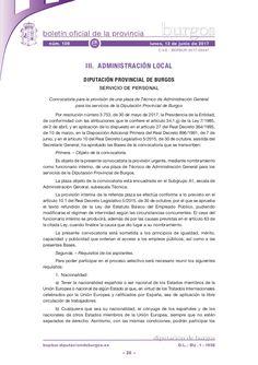 Convocatoria para la provisión de una plaza de Técnico de Administración General para los servicios de la Diputación Provincial de Burgos