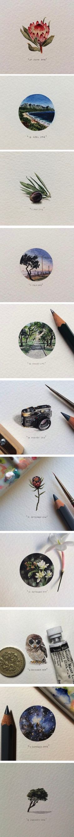 365 Postcards for Ants, miniature watercolors by Lorraine Loots