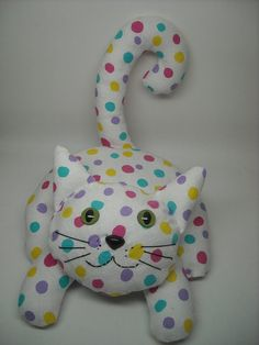 Critter Club Stuffed Animal Sewing Pattern:  Lying Kitty - Downloadable PDF - Photo