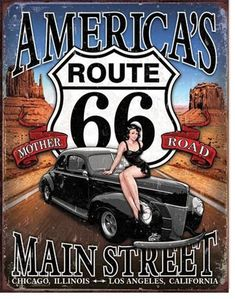 The Route 66 America's Main Street Vintage Tin Sign is an American-made beauty! This vintage tin sign has a distressed rustic finish and features the iconic Route 66 Highway sign emblem situated prominently in the center just above a sleek black classic h Dibujos Pin Up, Route 66 Sign, Desenho Pop Art, Up Auto, Man Cave Wall Art, Historic Route 66, Auto Retro, Drawn Art, Garage Art