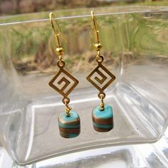 Gold Spiral Labyrinth Link with Teal gold spiraled dangle earring; Turquoise and gold drop earring; Labriynth gold hook earring by ToriBrayCreations on Etsy