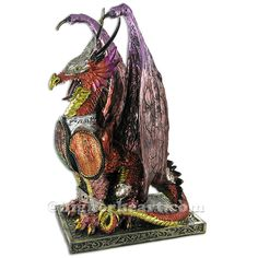 Purple Dragon Figurine hand painted in spectacular colours