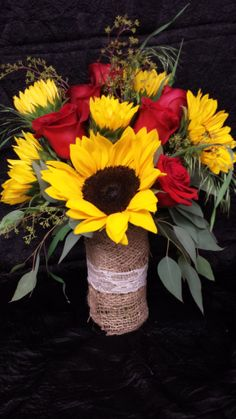 Sunflowers and Red rose Centerpiece with burlap and lace