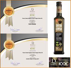 Terra Creta Organic EVOO, double awarded in DOMINA IOOC