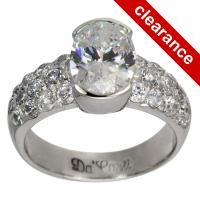 Wide Pave Diamond Covered Bezel Set Oval Engagement Setting (7651)