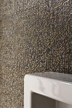 City: Piastrelle di design in gres smaltato a massa colorata GL, effetto metallizzato su base Bronze e Antracite, design by Diego Grandi.