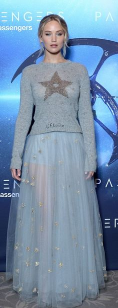 Who made Jennifer Lawrence's gray star sweater, tan pumps, and blue tulle maxi skirt?