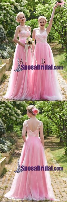 Princess Pink Tulle Long Bridesmaid Dresses with Lace, Sweetheart V Back Prom Dresses, PD0758