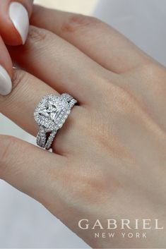 Gabriel - 14k White Gold Princess Cut Double Halo Engagement Ring with matching wedding band. See more of these matches made in heaven!