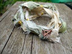 Silk Yoga Bracelet Tender Shoots Pale Green Sari Silk by Shalotte, £10.00