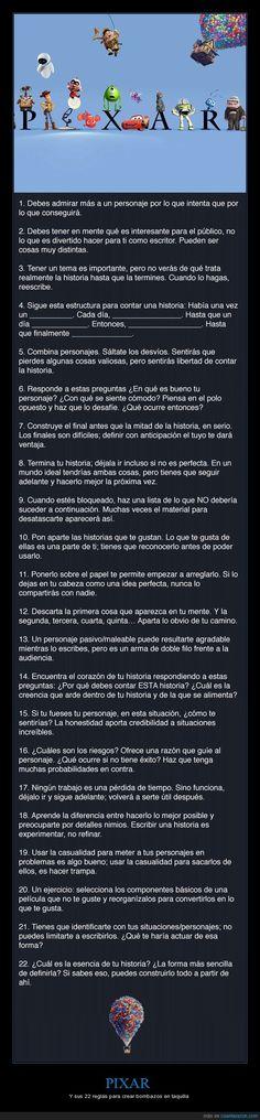 Las 22 reglas de Pixar para crear éxitos en taquilla - Y sus 22 reglas para crear bombazos en taquilla
