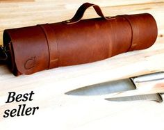 Chefs Knives Roll Leather knife Roll Anniversary by YaelHeffer