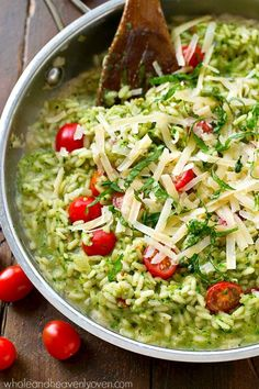 Parmesan Pesto Risotto with Cherry Tomatoes | Extra-creamy and extra-flavorful classic risotto packed with lots of pesto and juicy cherry tomatoes. Perfect for summer! /WholeHeavenly/