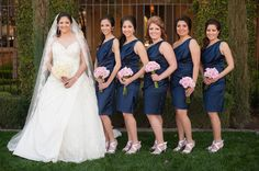 Royal blue over the shoulder bridesmaid dresses with pink bouquets | villasiena.cc