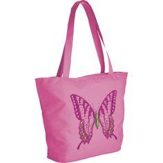 Moderne Lifestyle-Tasche aus der 'Limited Edition Collection Ticiana Montabri', mit Motiv-Stickerei Schmetterling