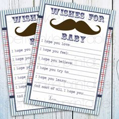INSTANT DOWNLOAD Mustache Baby Shower Game, Printable boy baby shower game, wishes for baby, blue baby shower keepsake, party decoration on Etsy, $5.41 CAD