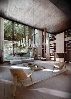 chaises en bois, tapis beige, fenetres grandes, appartement avec fenetres grandes