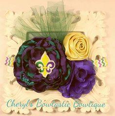 Mardi Gras Flower headband, Mardi Gras bow, Mardi Gras Singed flower headband, Singed flower, Purple and Green headband, Mardi gras accessories, Mardi Gras