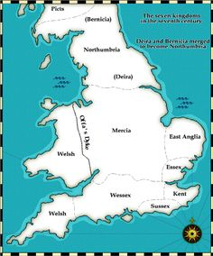 The seven Anglo-Saxon kingdoms were Northumbria, Mercia, East Anglia, Essex, Kent, Wessex and Sussex. Several modern counties still use their Saxon names.