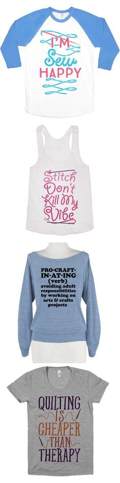 What in this world makes you happy? Nothing makes you happy quite like sewing. Get your pins together, and make something wonderful this season. Show off your geeky love with these sewing shirts that will be sure to express you're love of your favorite hobby.