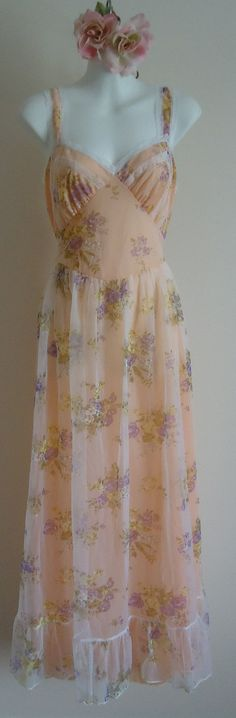 Vintage 1950s White Floral Chiffon Over Peach Lining Nightgown on Etsy, $72.25 CAD