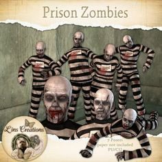 Berry Applicious Prison Zombies [Lins Creations] - Having withdrawals from the Walking dead,well here are some creepy zombies for you. Whoever said prisons were safe were telling fibs 5 full body zombies and 2 heads CU/PU Zombies, Prison, Creepy, Digital Art, Card Making, Characters, Scrapbook, Statue, Cards