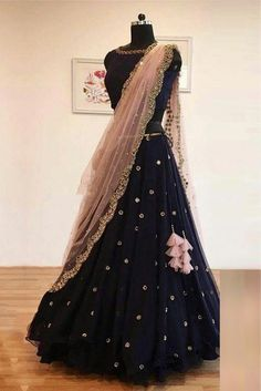 Net Lehenga Choli In Blue Colour In Desi Look - Gorgeous Designer Bridal Lehenga Choli By Famous Indian Designer Sabyasachi Mukherjee Shop Now For The Latest Designer Wedding Lehenga Cholis Online In Different Designs Styles Colors And Fabrics B
