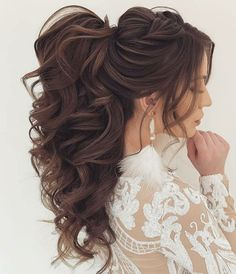 30 beautiful ponytail hairstyles ideas for 2019 # ponytail # ponytail . - 30 beautiful ponytail hairstyles ideas for 2019 # ponytail # ponytail hairstyles, - Wedding Hairstyles For Long Hair, Wedding Hair And Makeup, Bride Hairstyles, Trendy Hairstyles, Hairstyle Ideas, Beautiful Hairstyles, Wedding Ponytail Hairstyles, Curly Hair Updo Wedding, Engagement Hairstyles