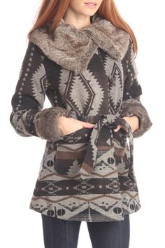 Southwestern Style Coat In Brown Multicolor.
