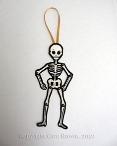 Skeleton paper doll Day of the dead Ornament Halloween articulated Christmas tree decoration on Etsy, $7.00