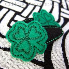 Shamrock Snap Hair Clips Irish Clover Handmade Hair Accessories Black | celtique_creations - Accessories on ArtFire