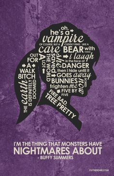 "Buffy Vampire ""I'm the Slayer"" Word Art Giclee Print Poster x 18 inch) by Portland Artist Stephen Poon. Buffy Tattoo, Buffy Summers, Thing 1, Joss Whedon, Buffy The Vampire Slayer, Quote Posters, Movies Showing, Word Art, Tv Series"