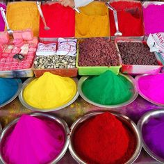 INSPIRED.... There may be no more colorful place than India and this image, of a pigment seller in the Davaraja Market, sells the most colorful product of all.  #Pigments #PigmentsofIndia #DavarajaMarket #inspired #color #Colorsoftheworld #MehronMakeup #GlobalBrand #Mehron