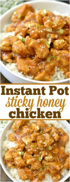 This spicy honey Instant Pot chicken just takes 4 minutes to cook and comes out moist and full of flavor! Both sweet and spicy it's a great healthy dinner. via @thetypicalmom