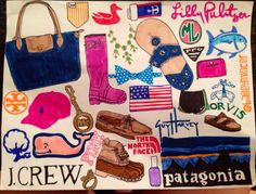 Prep essentials! preppy artwork Lilly Pullitzer jack rogers vineyard vines patagonia Longchamp polo Michael kors hunter